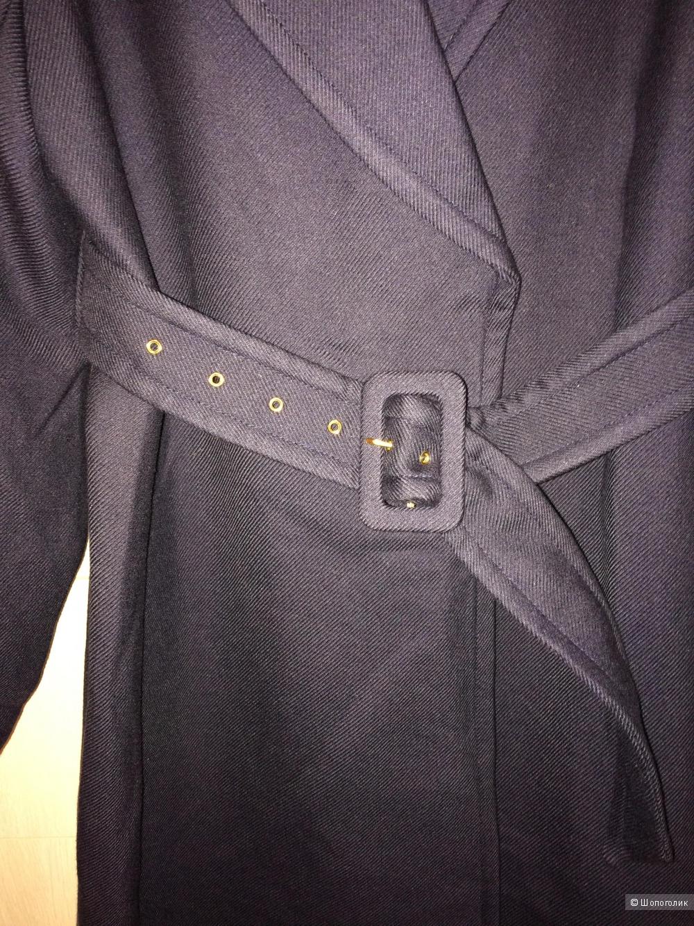 Синее легкое пальто-тренч H&M 48разм