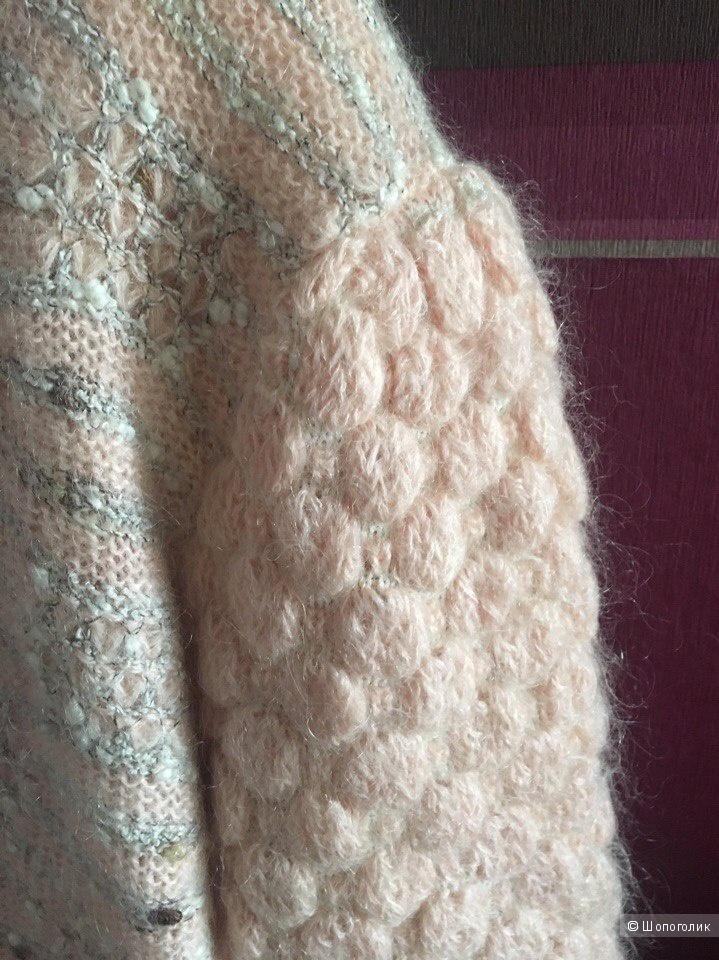 Мохеровый кардиган цвета пыльной розы размер 52.