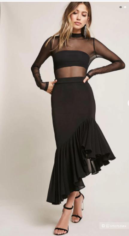 Шикарная юбка с шифоновым воланом Forever21 (Размер 46-48)