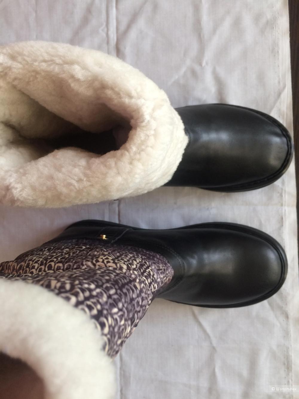 Сапоги зимние   SASHA FABIANI  р.38  кожа и мех натуральный