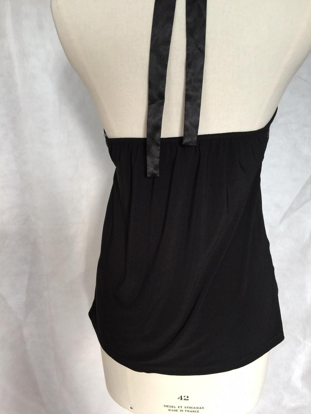 Вечерний черный топ с открытой спиной, отделка пайетки марки ZOI women размер s