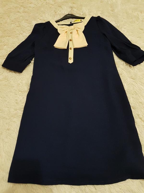 Платье  Max C с молочного цвета бантом UK 14