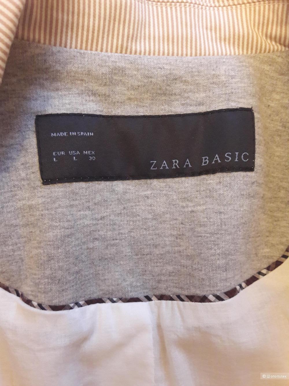Zara Basic: стильный клубный пиджак в мелкую полоску, L