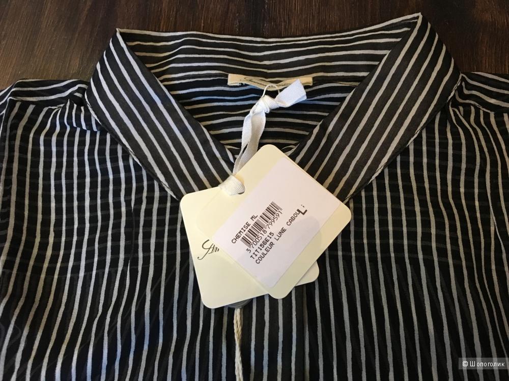 Шелковая рубашка AMERICAN VINTAGE , L (Международный Размер). На рос. 48-50. Черная.