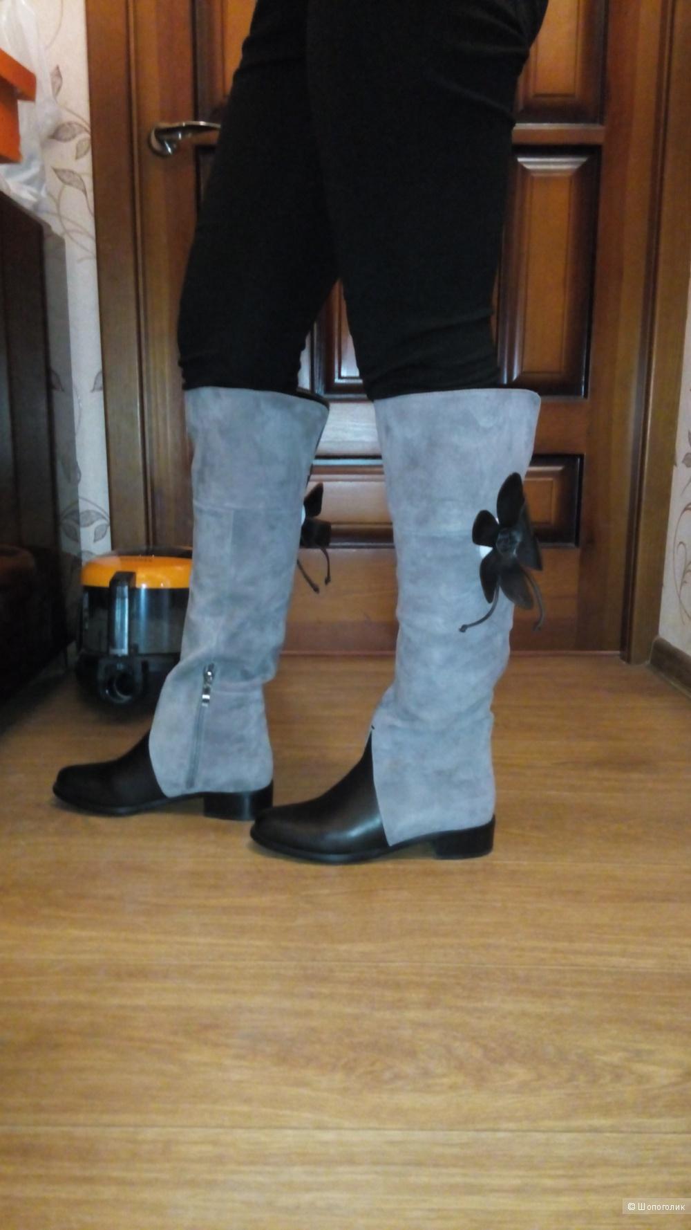 Сапоги - ботфорты, 38 размер,еврозима, натуральная замша и кожа, новые, цвет капучино