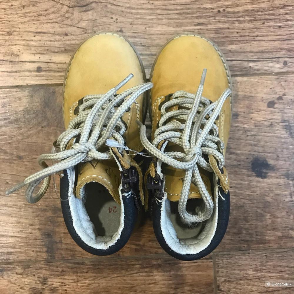 Крутые ботинки из натуральной кожи и нубука, DPAM (Франция), 24-25