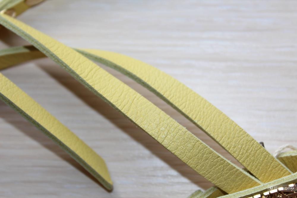 Тонкий желтый ремень SCERVINO STREET универсального размера