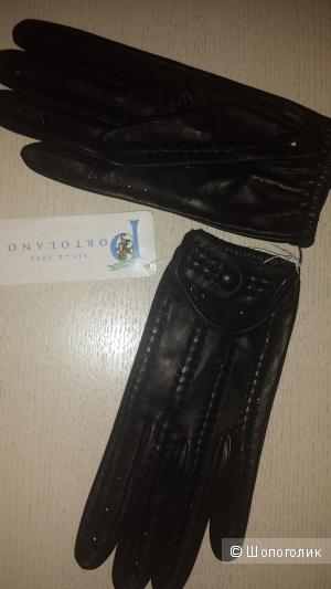 Стильные кожаные женские перчатки Portolano 7,5 размера