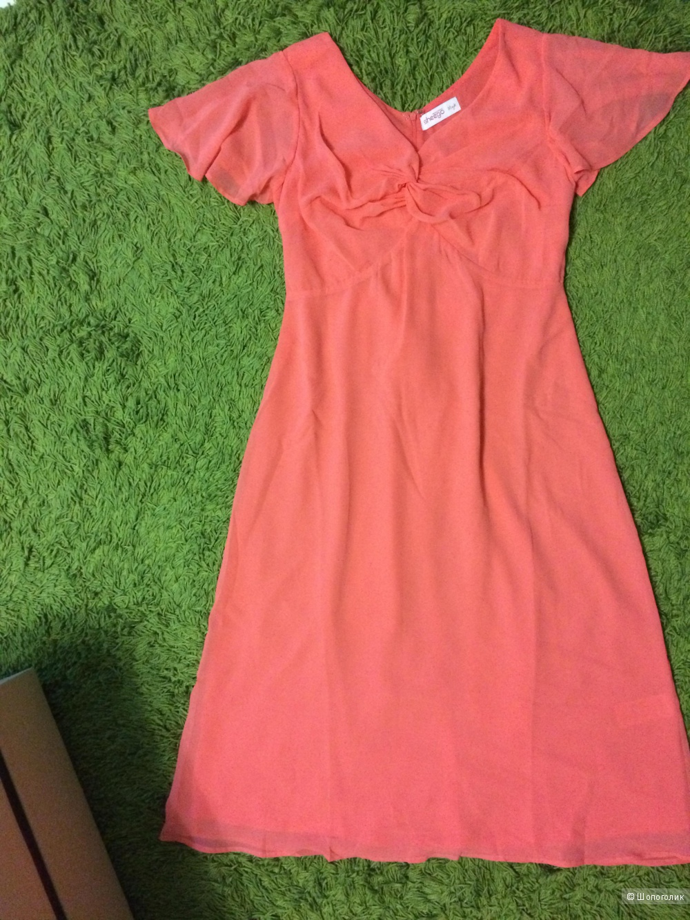 Платье нарядное коралловое шифон 48 размер