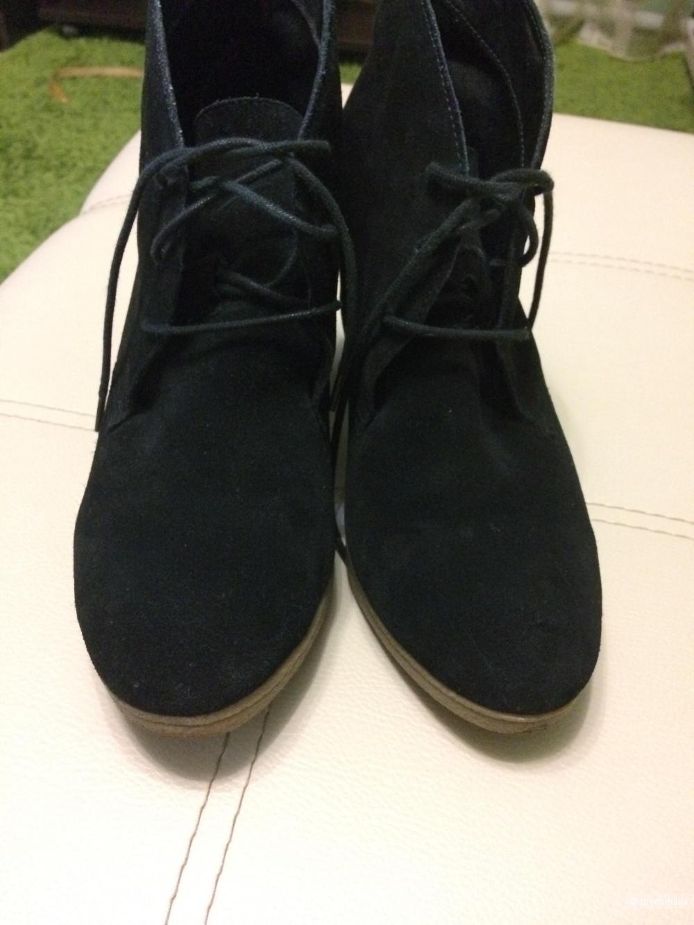 Ботинки черные замшевые 41-42 размер