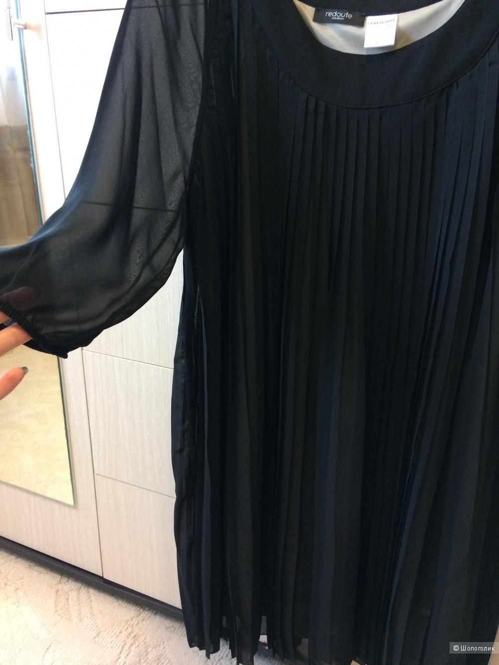 Платье чёрное шифон плиссе 46-48-50 размер