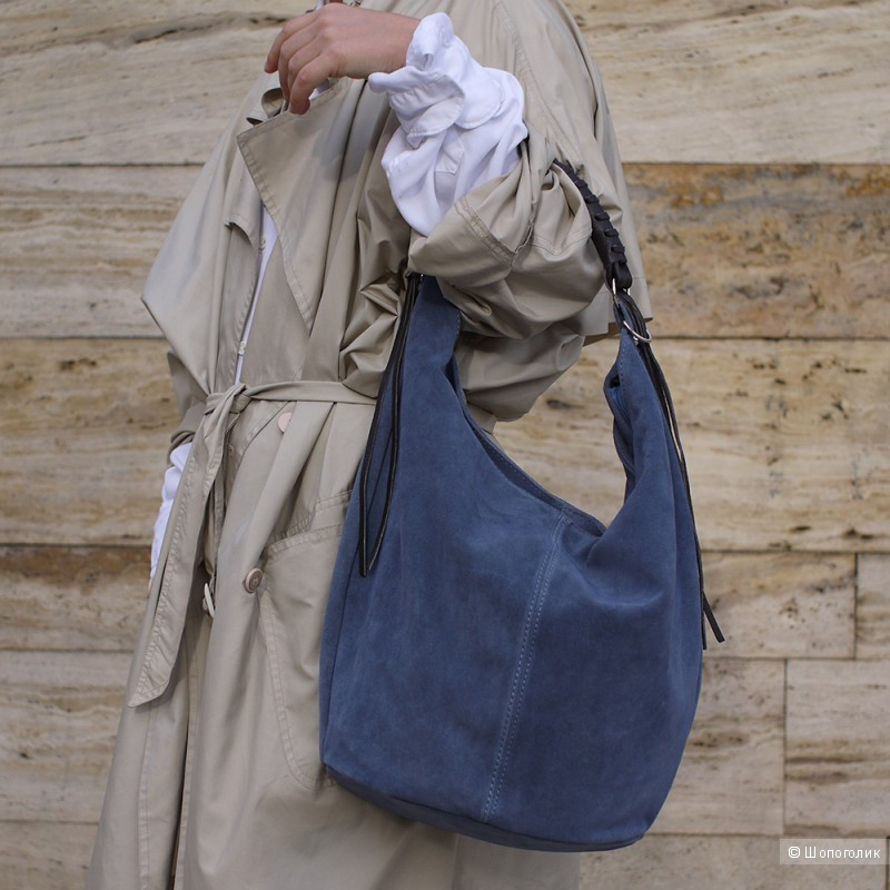 Кожаная (нубук) сумка LIRICA от Carla Moretti. Италия.