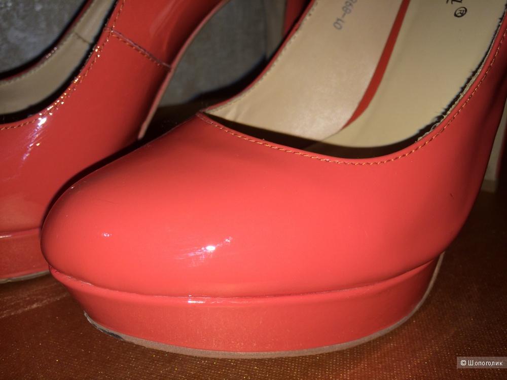 Туфли кораллового цвета 38 на узкую ножку