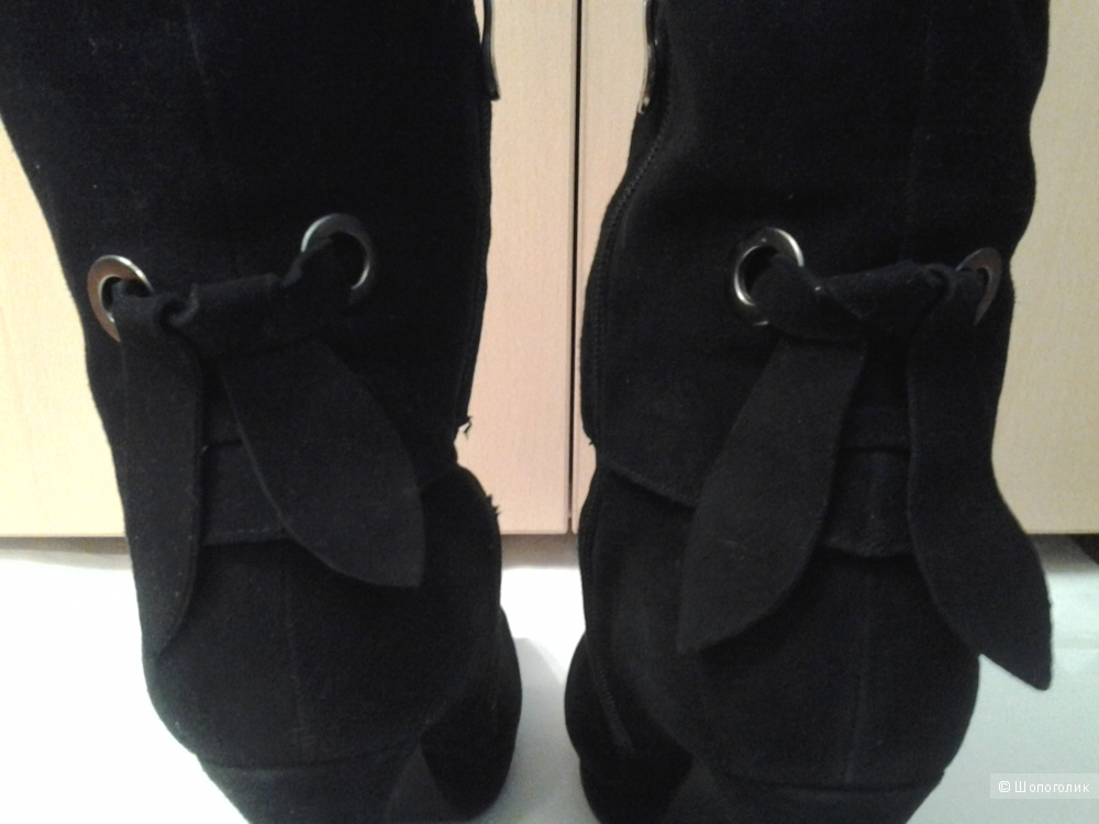 Полусапоги черные замшевые Tervolina 38 размер