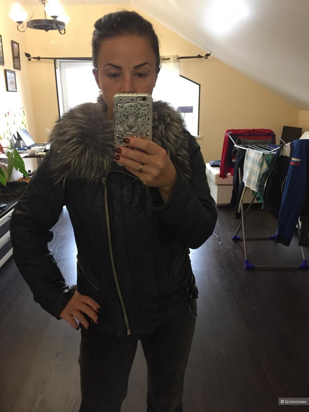 Кожаная куртка, утепленная, мех чернобурка, 42-44 размер
