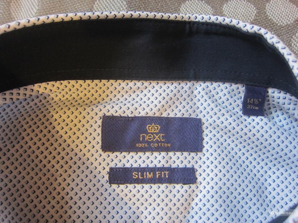 """Мужская рубашка Next Slim Fit, 14,5"""", 37 см (46-48 рос.)"""