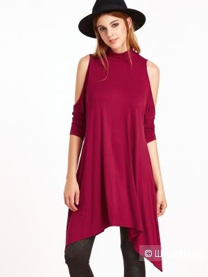 Новое красное платье-туника с открытыми плечами,  размер M-XL