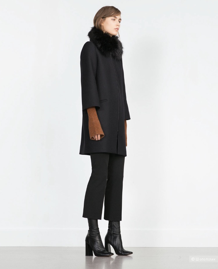 Черное пальто zara в размере S