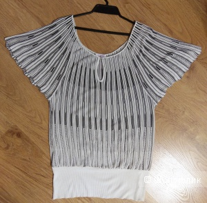 Блузка/топ с коротким рукавом черно-белая, размер 48-50.