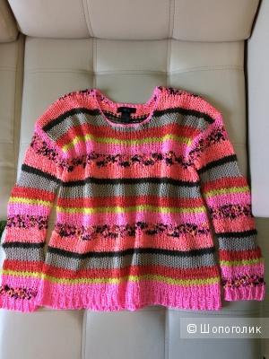 Пуловер полосатый мультиколор из пряжи разной  текстуры 48-50 размер
