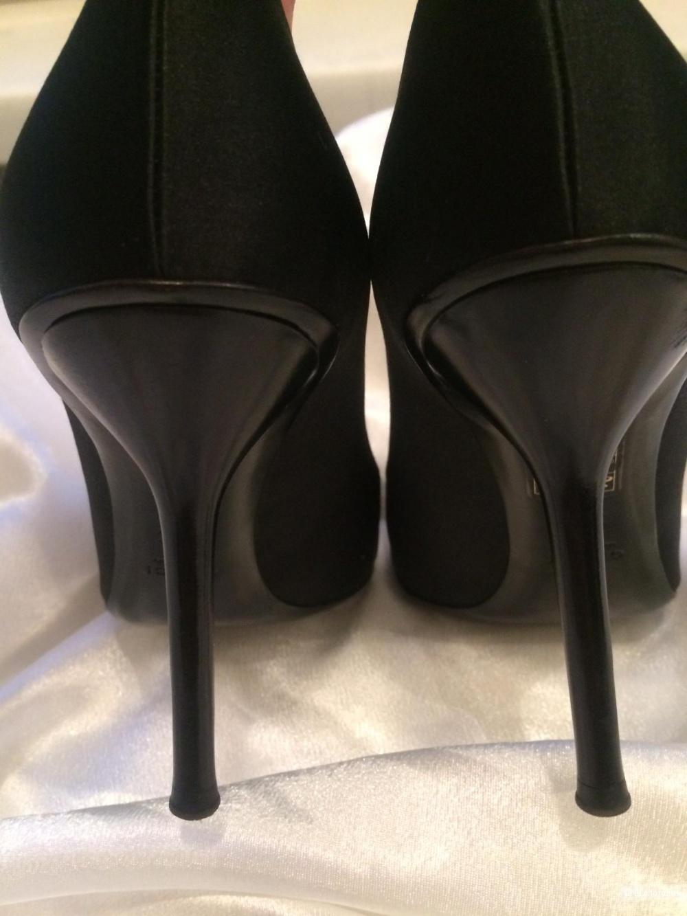 Чёрные туфли Gucci (атлас, кожа) / 36,5-37