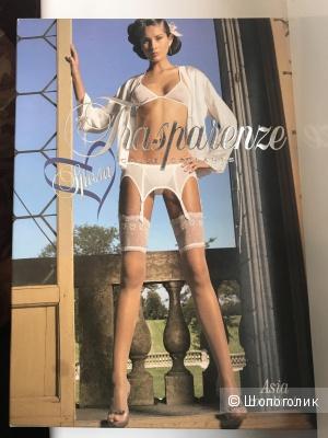 Чулки из свадебной коллекции с кружевной резинкой Trasparenze размер 1/2 цвет bianco (белый)