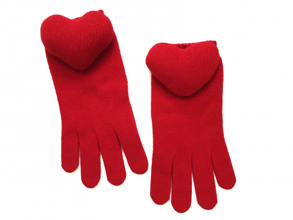 Красные перчатки Moschino Padded Heart Gloves, оригинал, размер S-M, новые