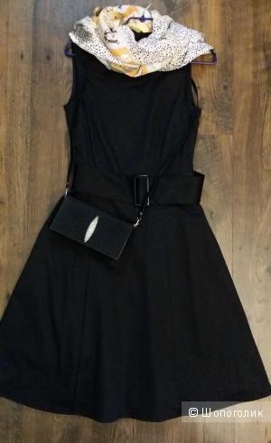 Черное платье миди от H&M, 97 % хлопок,  46-48 размер