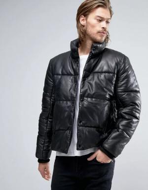 Мужская теплая дутая куртка ASOS, натуральная кожа. Р-р XS.