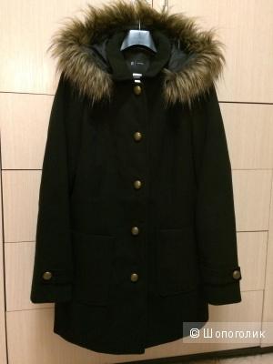 Пальто с капюшоном черное 48-50 размер
