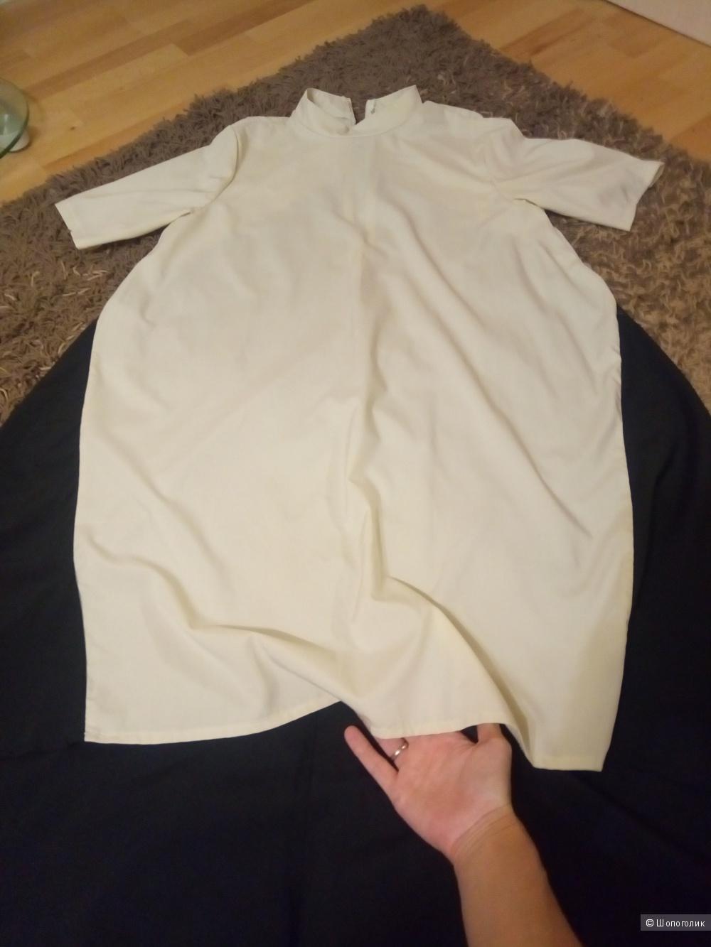 Платье черно-белое, размер 42-48