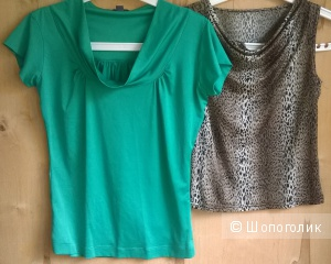 Блуза топ майка  2шт одним лотом б/у женское р.44 (S)