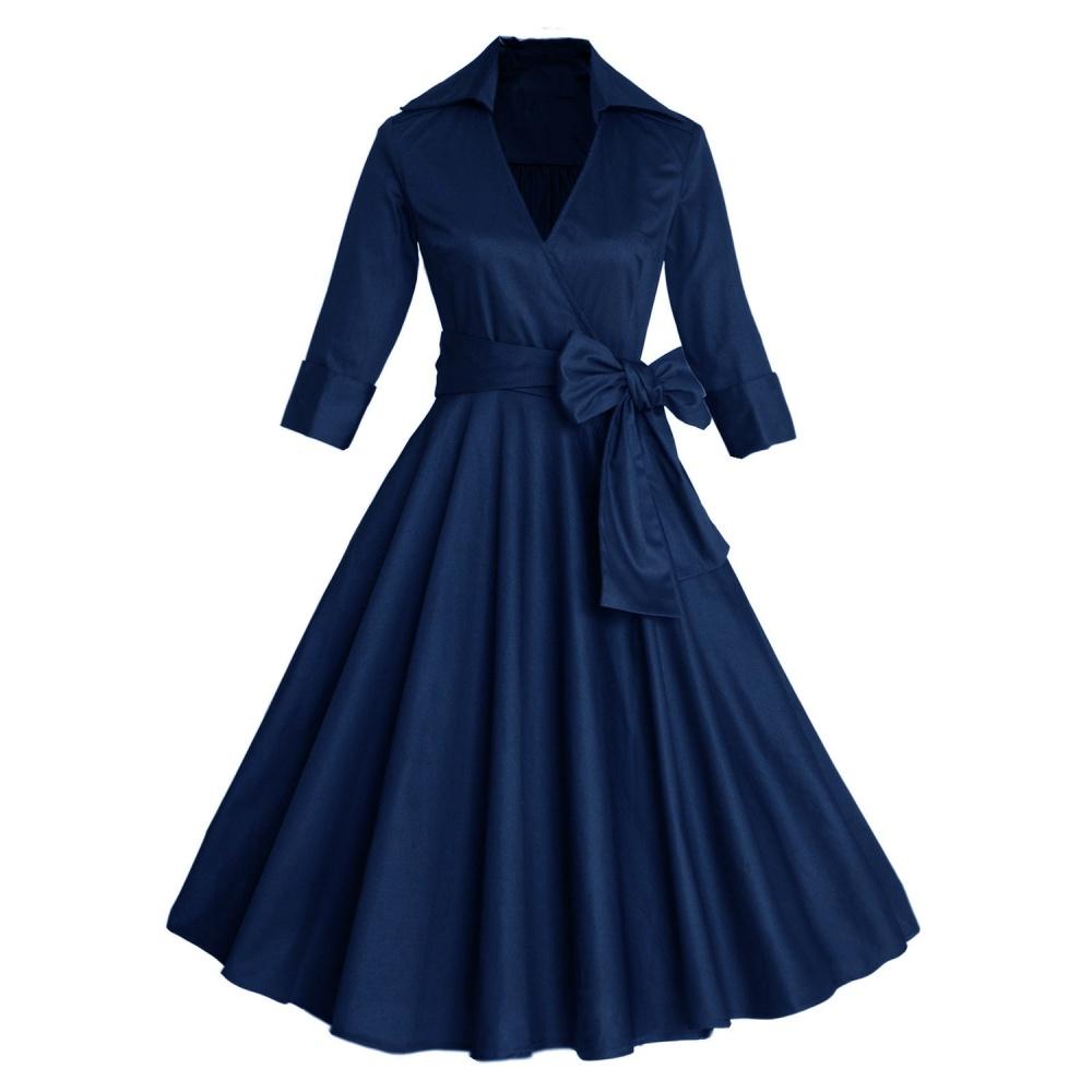 Хлопковое платье с запахом темно-синее, 52 размер