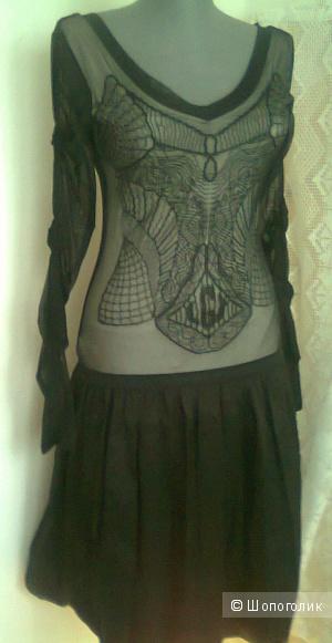 Платье комбинированное на подкладке LEGATTE Италия Новое р. 0 (на 44)  бренд люкс