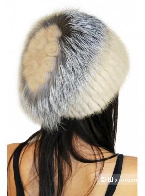 Оригинальная шапочка (норка черная + чернобурка) LEMMEX,  размер 52-56