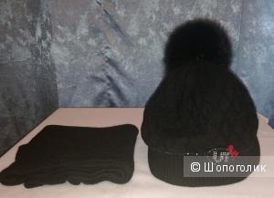 Vintage+ вязаный комплект шапка и шарф 53-55 размер