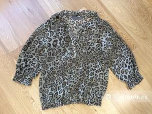 Шифоновая блузка с леопардовым принтом Zara р. XL (на 46-50)