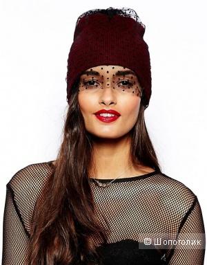 Красивая шапочка бини с вуалью Asos