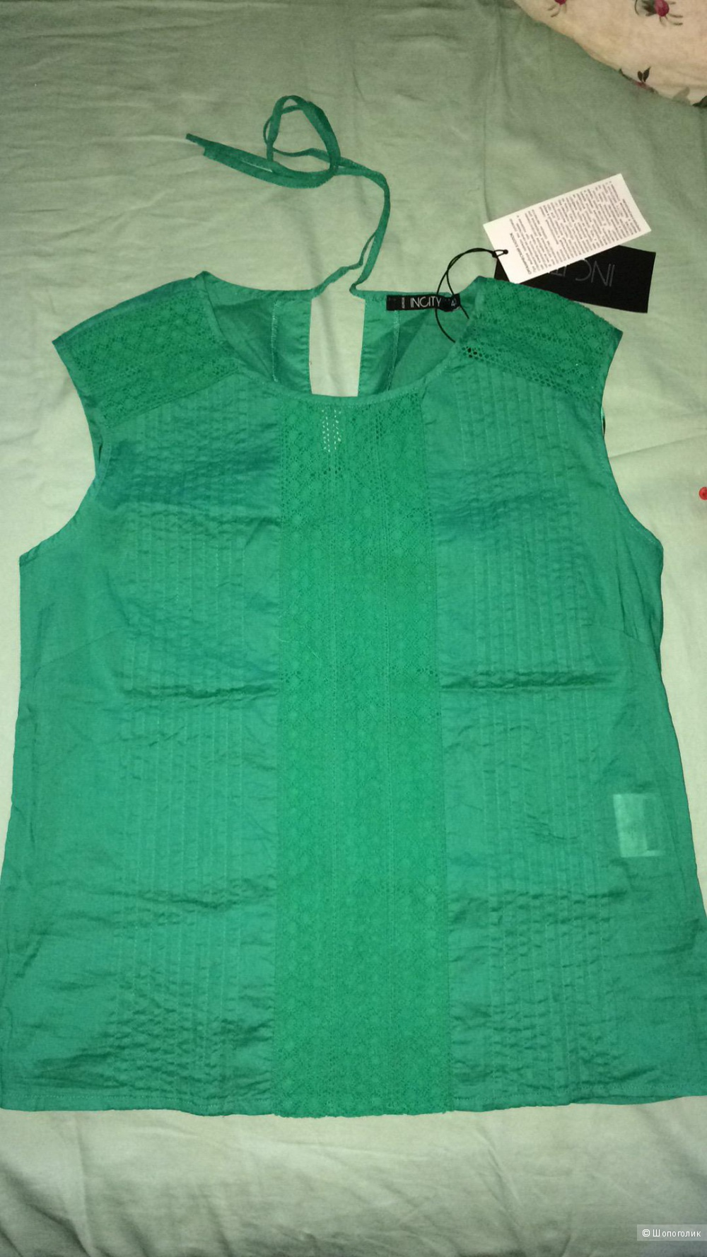 Блузка INCITY, размер 40-42, хлопок 100% цвета бриллиантовой зелени