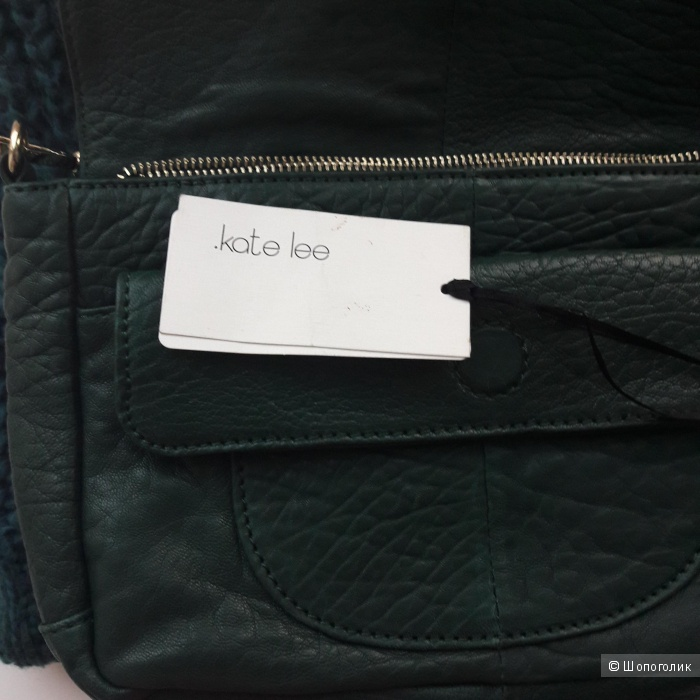 Новая кожаная сумка изумрудного цвета Kate Lee