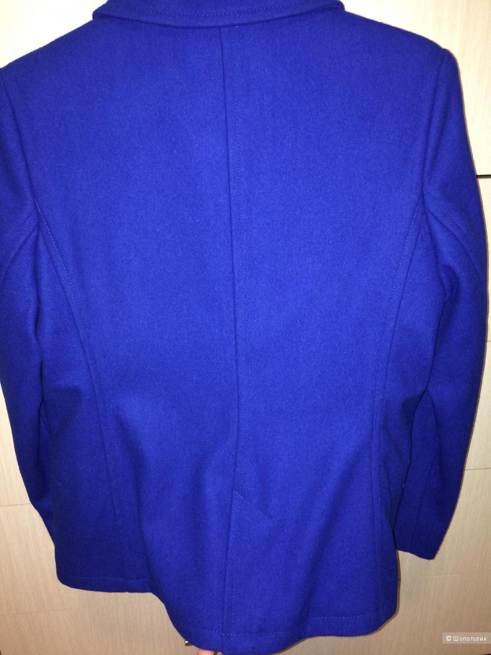 Пальто синее с шерстью 48-50 размер