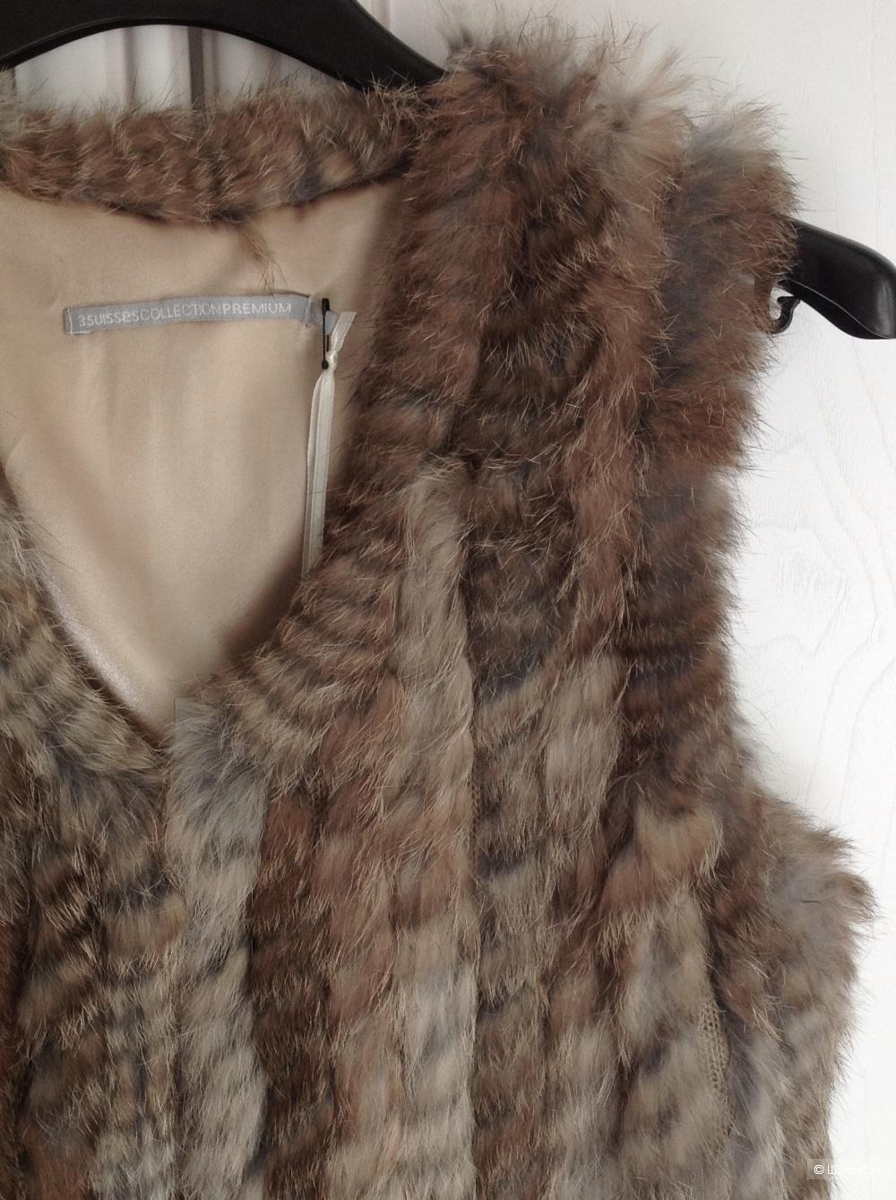 Меховой жилет из вязаного кролика 3 suisses, размер 42-44.