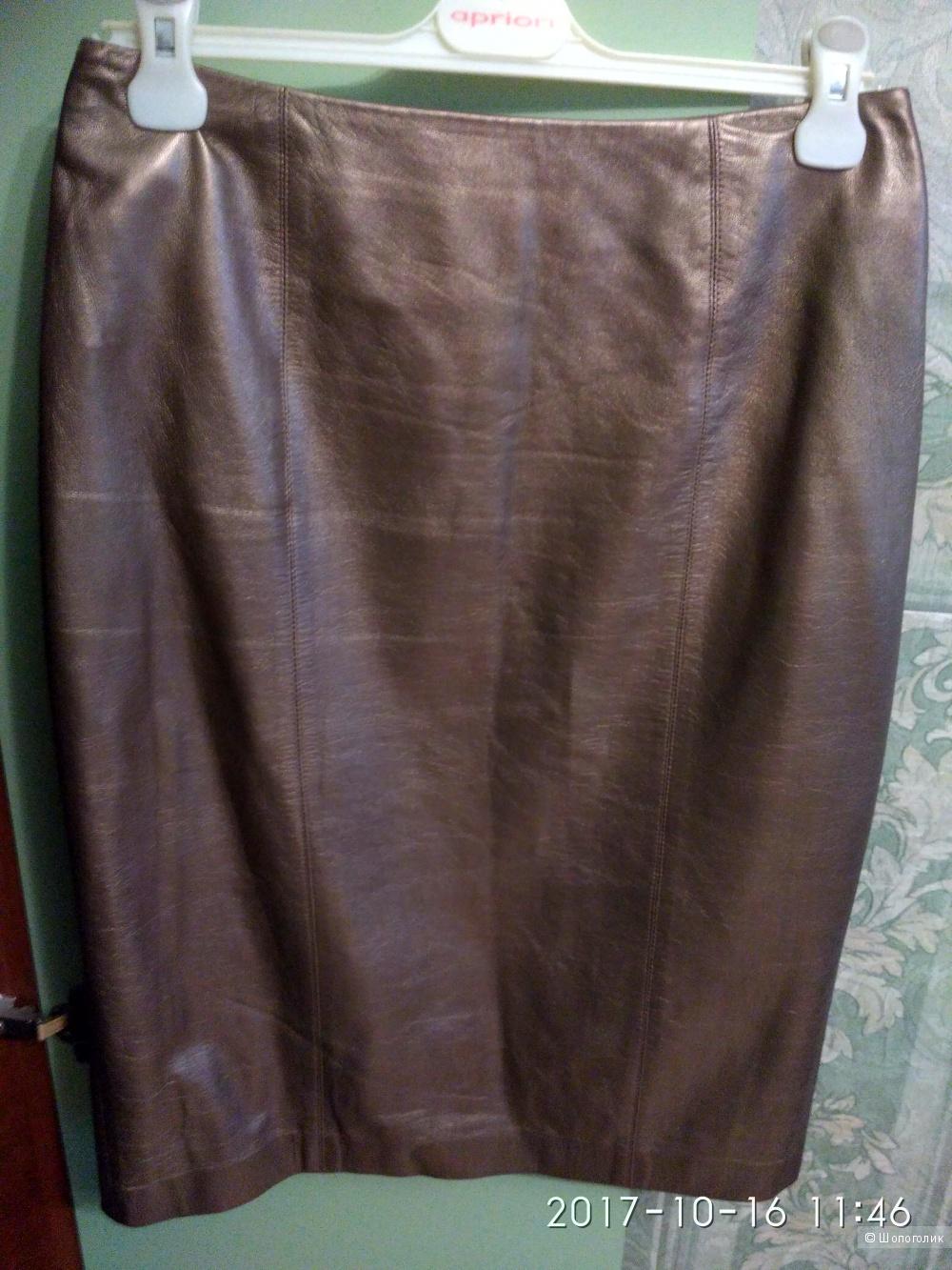 Юбка из кожи цвет бежевый с золотом Linda AllardРазмер 44-46