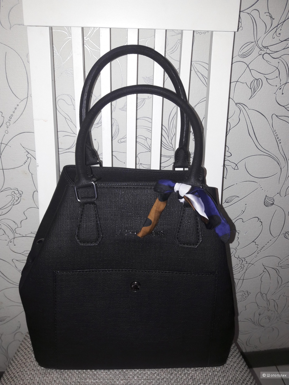 Michael Kors: черная сумка, кожзам, реплика