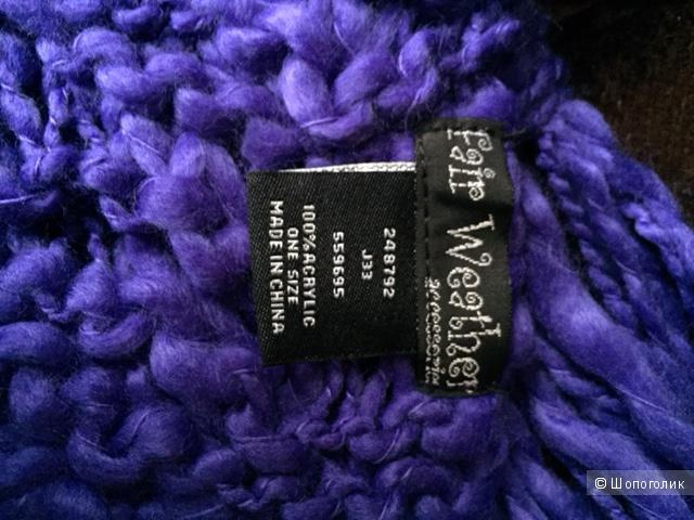 Два шарфа из акрила (белый и фиолетовый цвета)