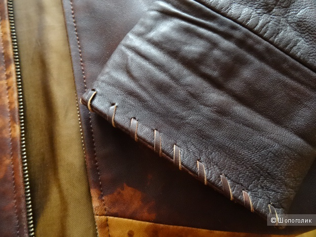 Пальто на молнии с капюшоном, кожа, б/у