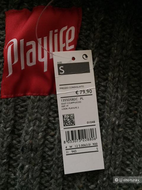 Новый женский шерстяной жилет, Playlife, размер S, темно-серый