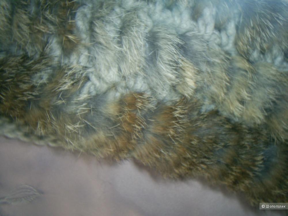 Шарф-снуд с мехом кролика.