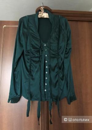 Шелковая блузка-рубашка 46 рр