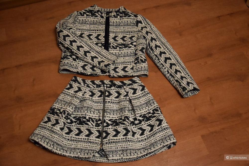Жаккардовый костюм (юбка+жакет) asos размер UK 10
